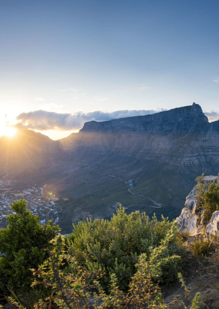 Sunrise view of Table Mountain with morning clouds